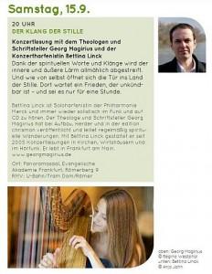 Ankündigung der Klanglesung mit dem Schriftsteller Georg Magirius und der Harfenstin Bettina Linck in Frankfurt 2018