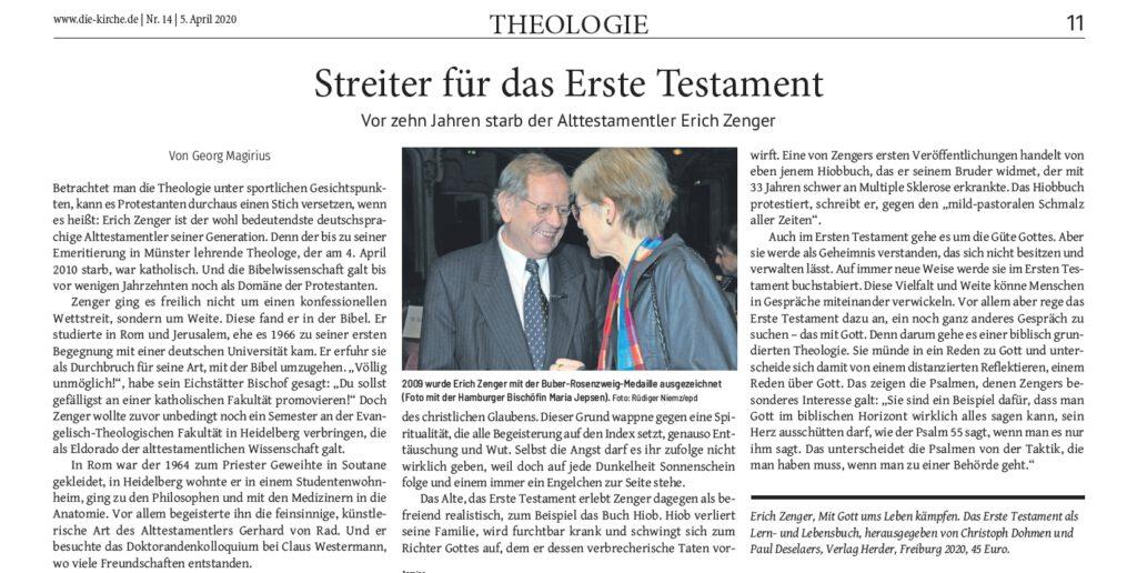 """Erich Zenger, Streiter für das Erste Testament, in """"Die Kirche"""", April 2020"""