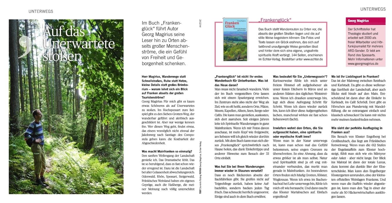 Georg Magirius in Wanderkleidung mitten im Wald - Und das Interview mit ihm, in dem er sagt: Manche Wirtshäuser sind wie ein Gebet