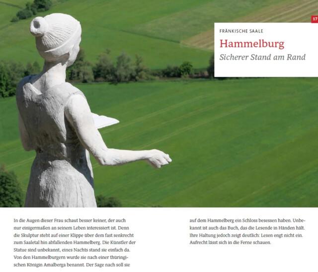 """Versteckte Orte zum Erholen - zum Beispiel die Statue Amalberga. Sie hat ein Buch in der Hand und blickt ins Fränkische Saaletal. Das Foto ist ein Ausschnitt aus dem Buch """"Frankenliebe"""""""