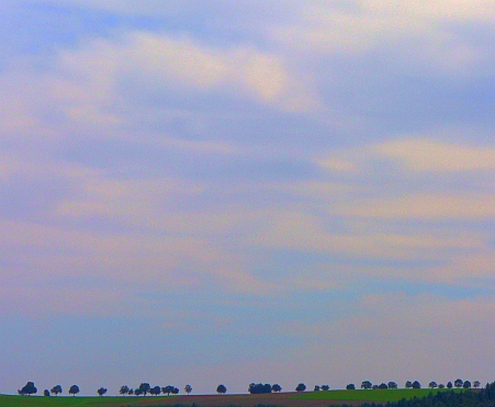 Blick aus dem Tal auf eine hochgelegene Allee und in den Himmel