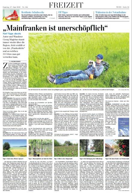 Zeitungsseite der Main Post verkleinert - Interview von Joachim Fildhat mit Georg Magirius, der mit seinem Buch Frankenliebe das unscheinbare Franken zum Sprechen bringe.
