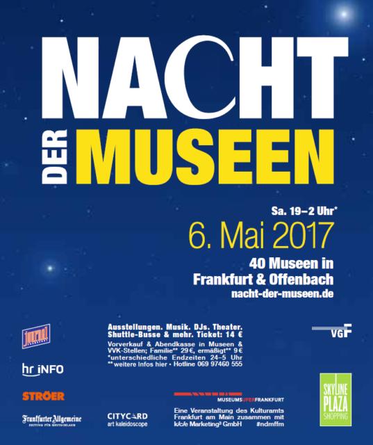 Plakat Nacht der Museen 2017. Gut Geschrei im Bibelhaus Frankfurt. Konzertlesung mit Georg Magirius und Bettina Linck im Reformationsjahr.