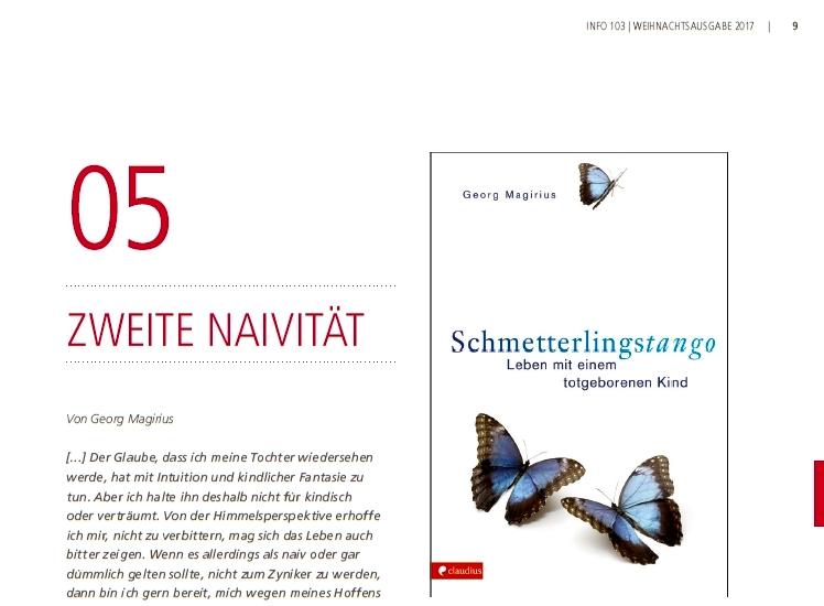 """Beitrag in der Zeitschrift der Initiative Regenbogen zum Buch """"Schmetterlingstango"""" von Georg Magirius. Magirius schreibt darin, der Glauben ermögliche es, unvernebelt den Weg der Trauer zu gehen."""