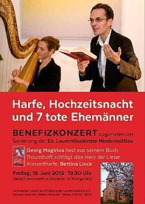 Plakat zum Benefizkonzert in Niedermittlau mit Bettina Linck und Georg Magirius