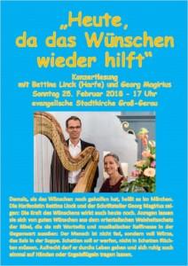 Plakat Heute, da das Wünschen wieder hilft Konzertlesung Stadtkirche Groß-Gerau