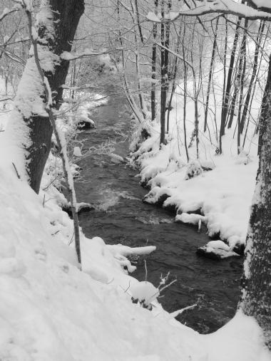 Bachlauf in Schneelandschaft. Eine stille Erfahrung, die ohne eine Yogaübung möglich ist, also eine Exotische Stille.