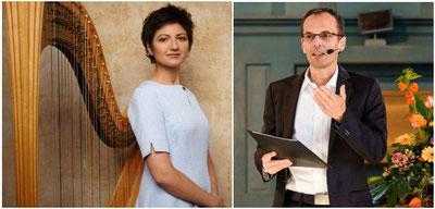 Luxuskuchen gegen die Resignation:  Miroslava Stareychinska mit Harfe und Georg Magirius mit Buch. Sie gestalten den Abend über die Kraft des Wünschens.
