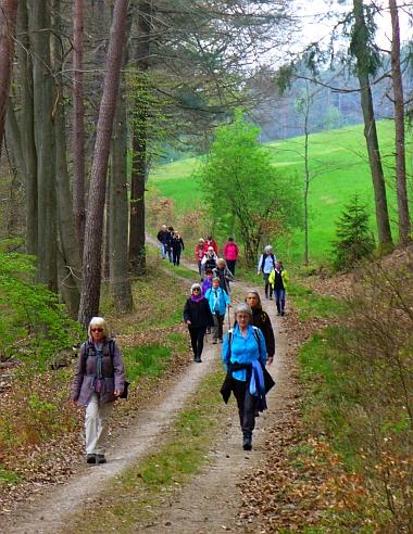 Teilnehmer der Reihe GangART auf dem Weg nach Michelstadt im Odenwald