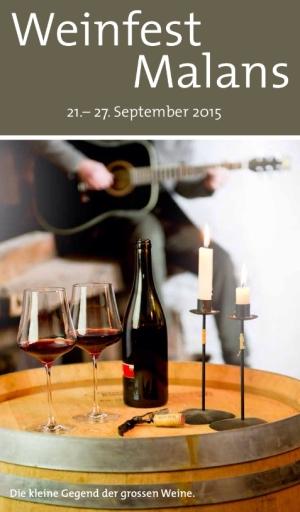 Ankündigungsplakat zum Weinfest in Malans im Bündner Land mit rotem Wein und Kerzen.