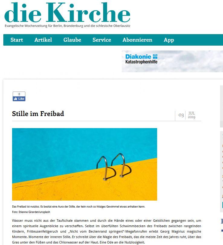 """Magirius Momente im Freibad - Artikel von Georg Magirius in der Zeitung """"Die Kirche"""""""